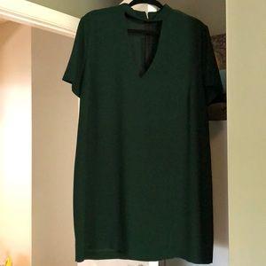 Zara women large dark green dress